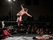 Levi Shapiro's drops his Bombs Away Fist Drop on Buddy Royal.