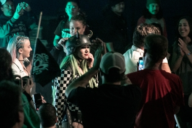 Shotzi Blackheart makes her way through the APW fans.